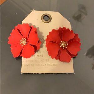 Anthropologie Painted Blooms Red Earrings